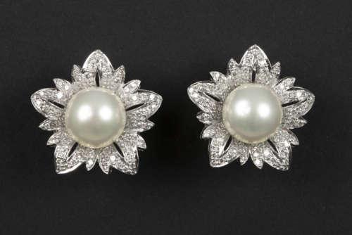Paar oorbellen met een elegante bloemenvorm in wit…