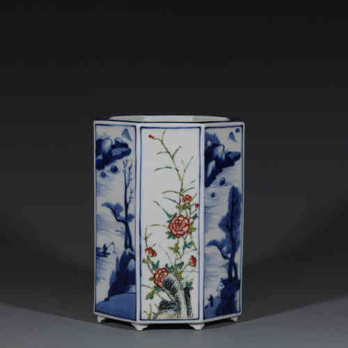 A Chinese Blue and White Famille-Rose Porcelain Brush Pot