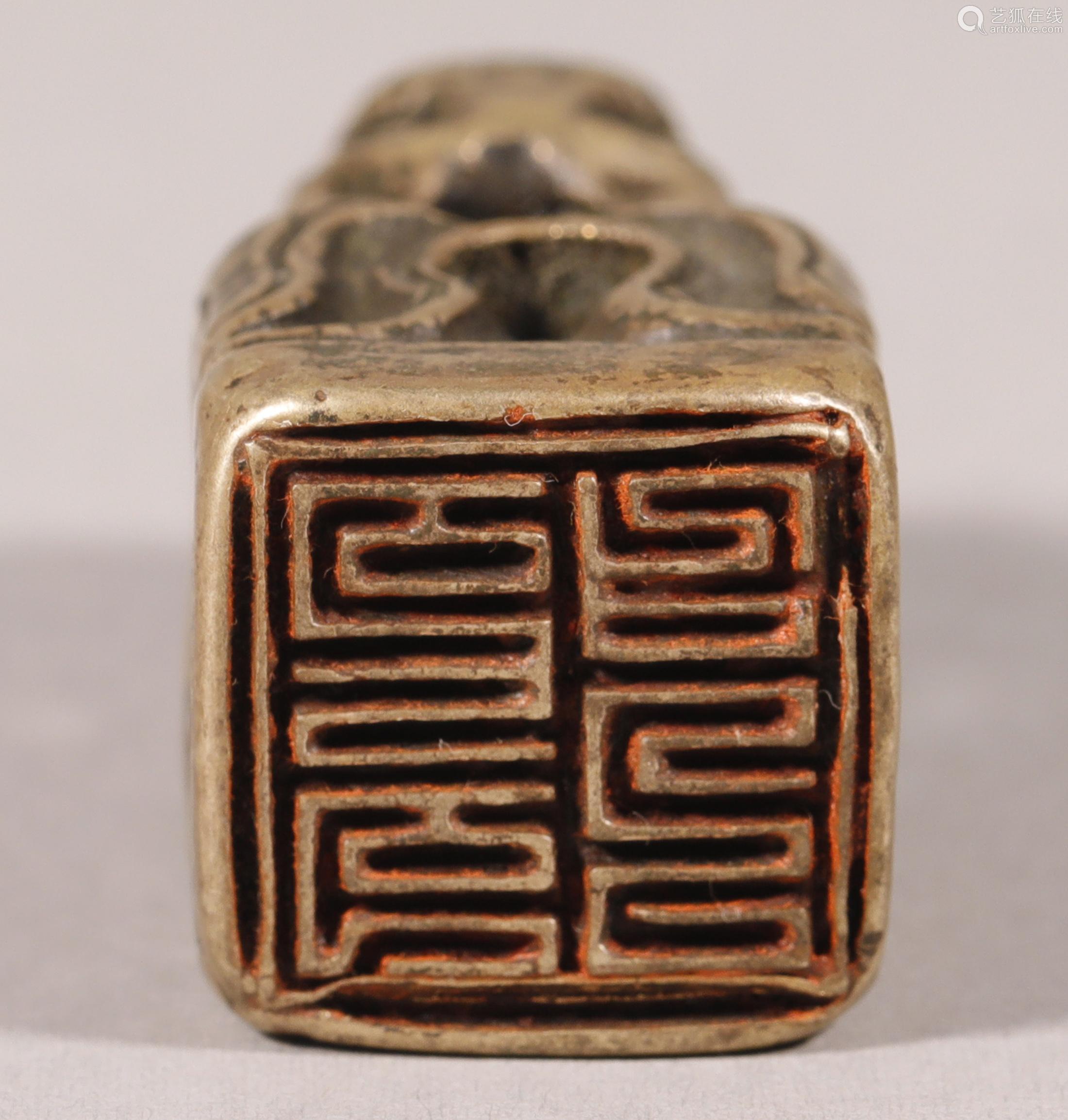 清代 铜狮钮印