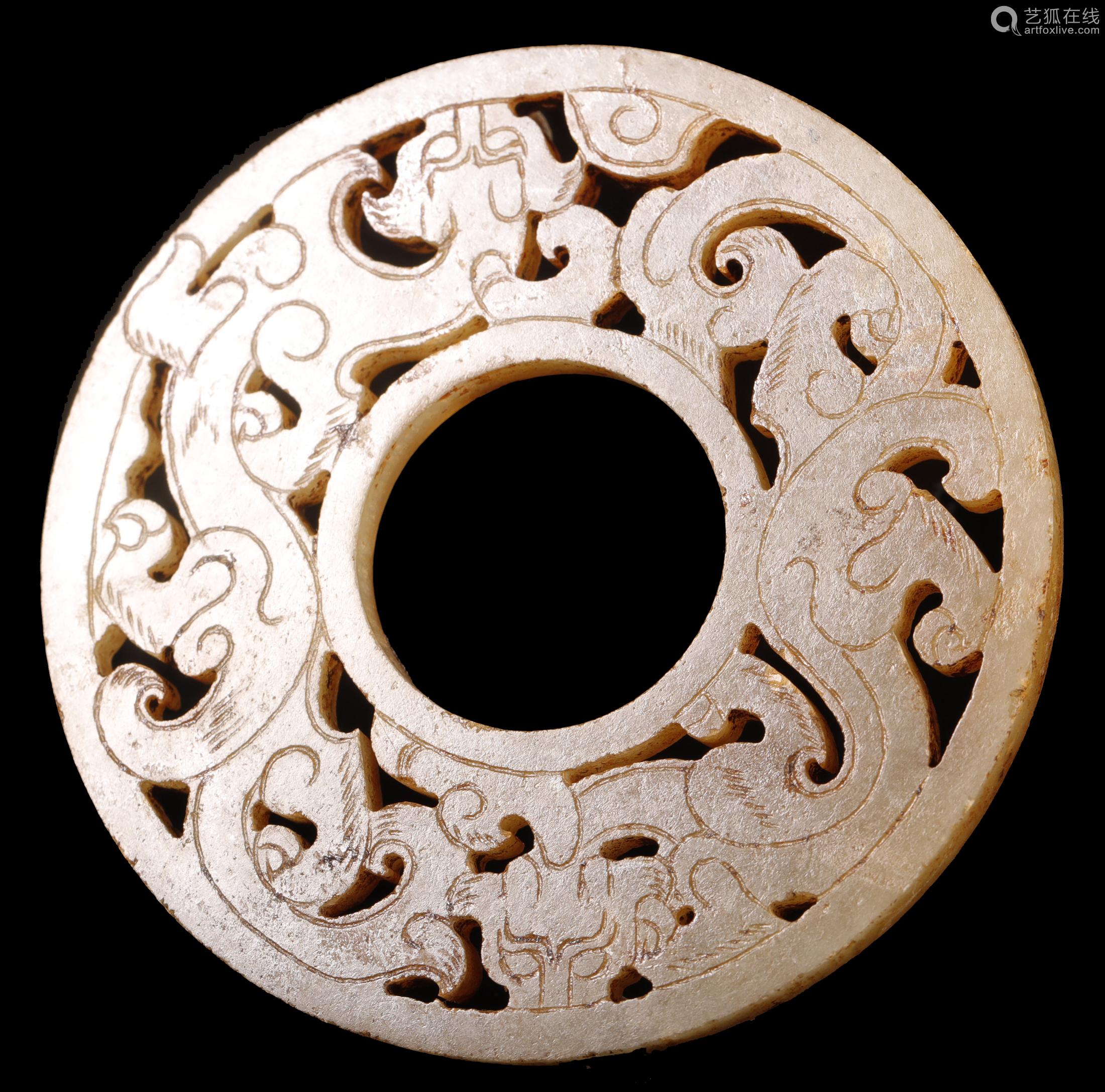 汉代 螭龙纹玉环一对
