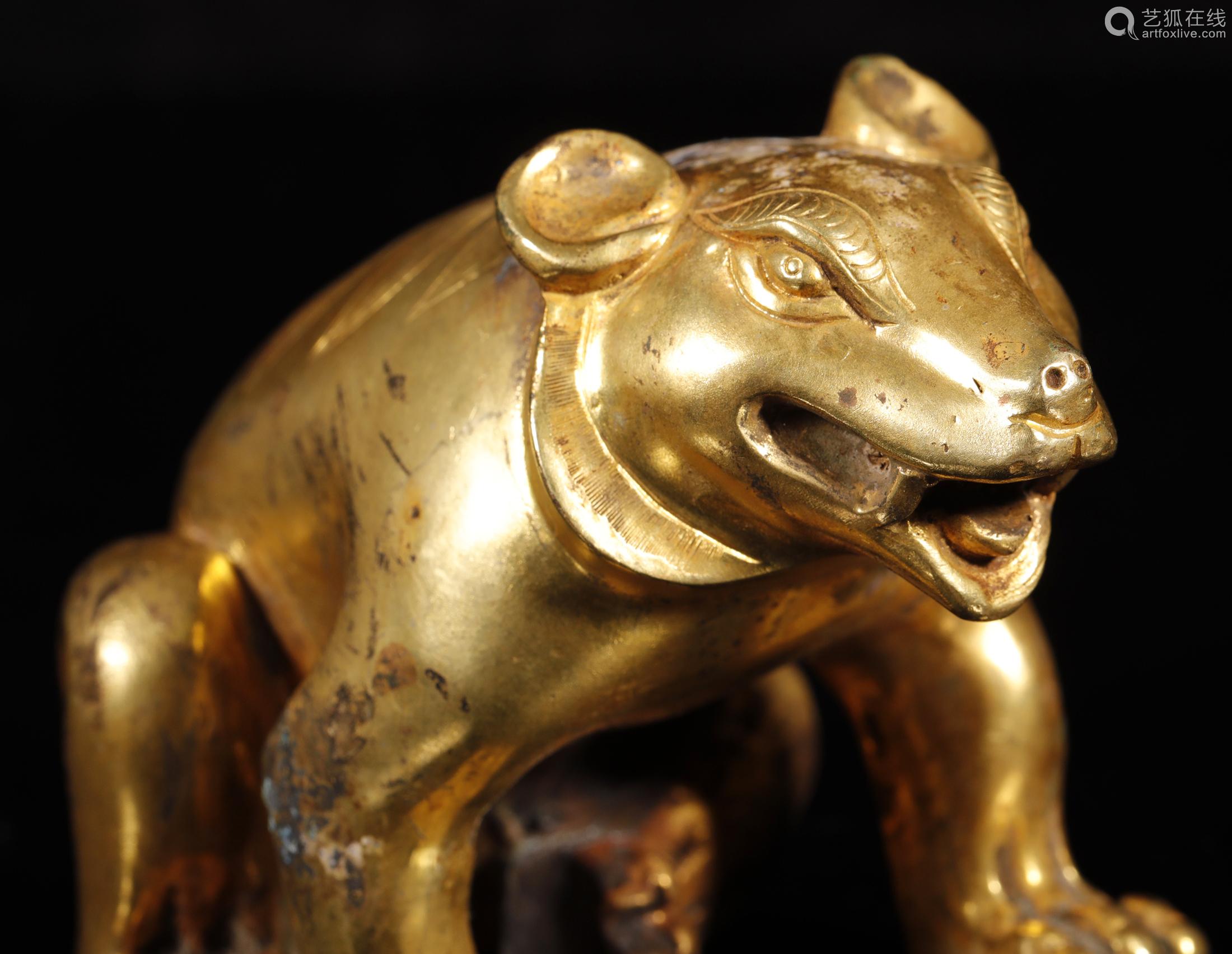 汉代 铜鎏金熊