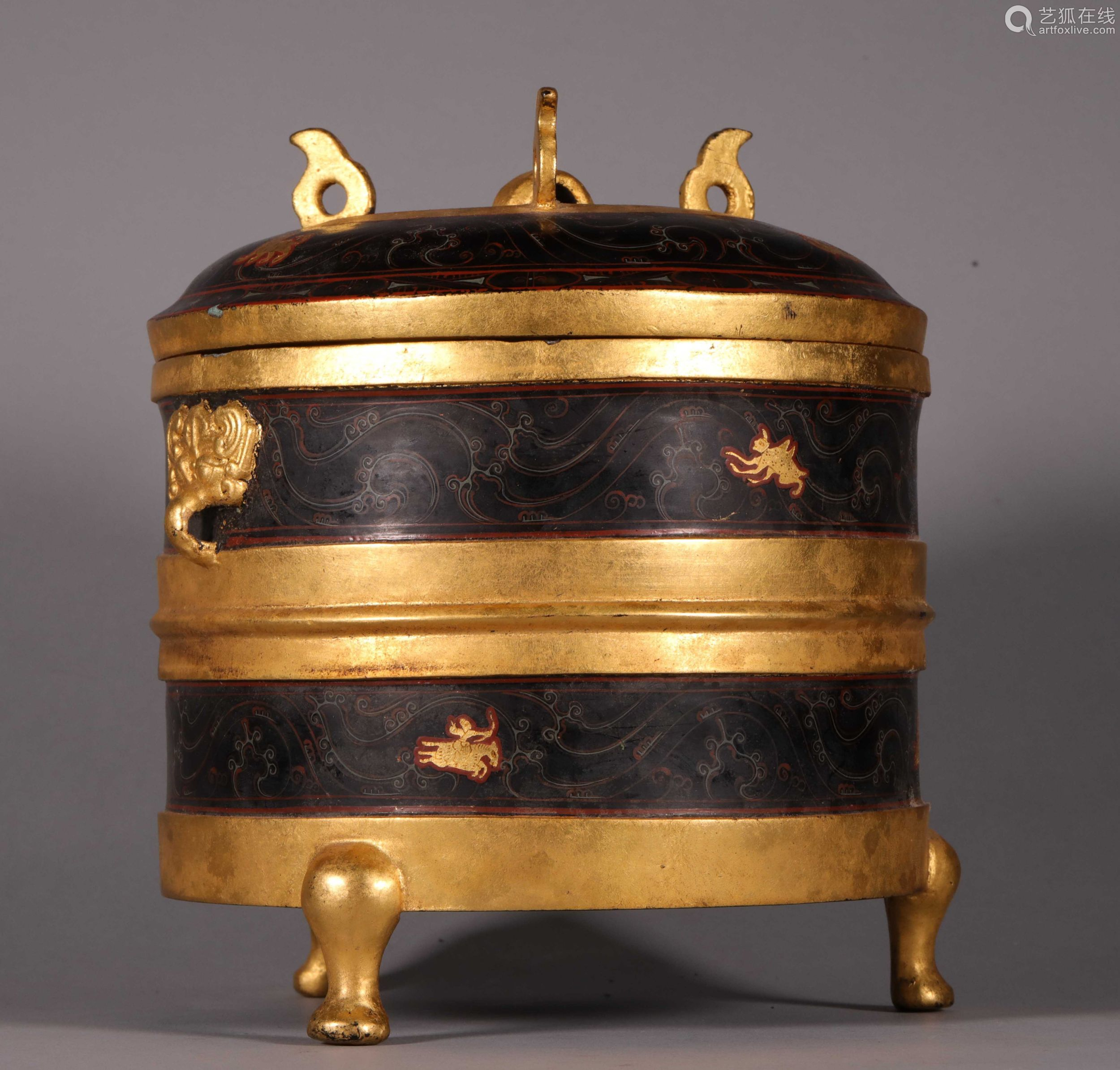 汉代  铜胎漆金彩绘博山炉