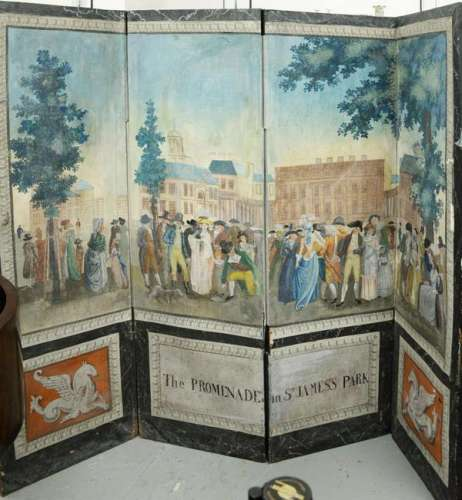 George III Four Panel Painted Canvas Screen,