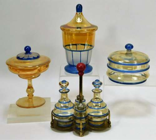 8PC Blue and Amber Bohemian Art Glass Tableware