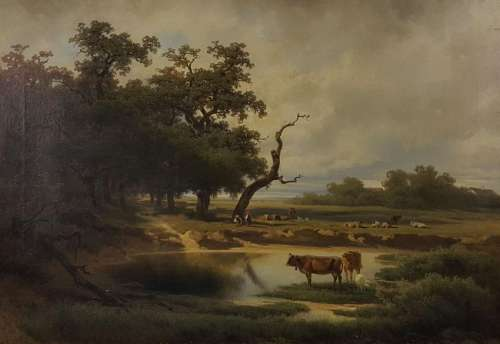 Melchior FRITSCH (1826-1889). Grazing cows by a pond.