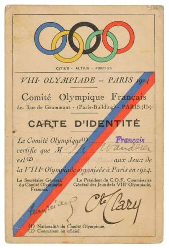 Paris 1924 Summer Olympics Identification Card
