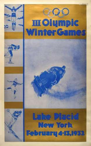 Lake Placid 1932 Winter Olympics Poster and Group of