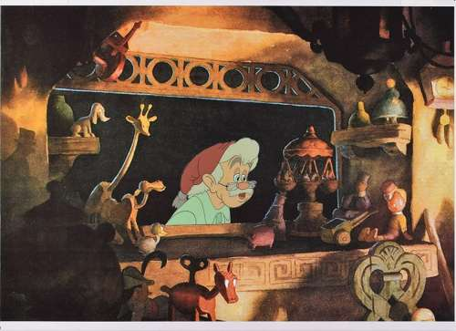Mister Geppetto production cel from Pinocchio