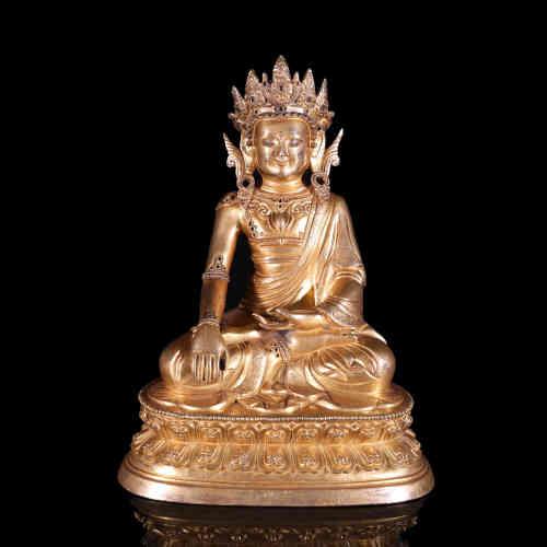 A Chinese Gilt Bronze Buddha Statue of Shakyamuni