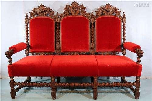 Walnut 3 seat hall sofa attrib. to A. Roux