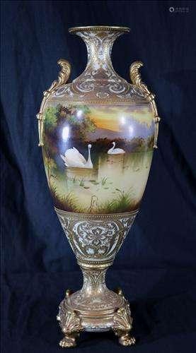 H.P. large Nippon vase signed with maple leaf mark