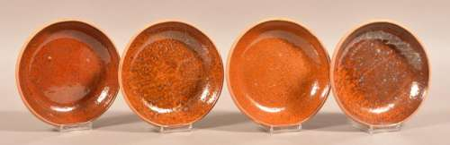 Four Glazed Redware Pottery Bowls.