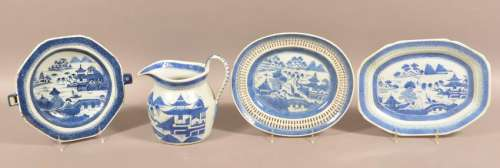Four Pieces of Antique Canton Oriental Porcelain.