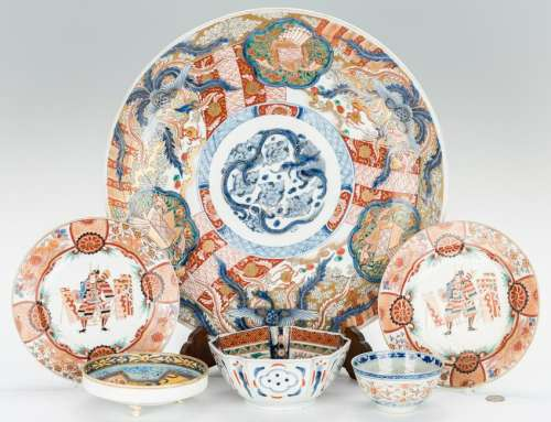 6 Japanese Porcelain Items, incl. Imari Charger