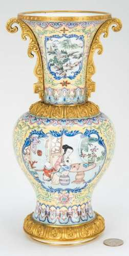 Canton Enamel Vase with Gilt Mounts