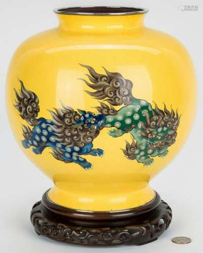 Asian Cloisonne Yellow Ground Vase