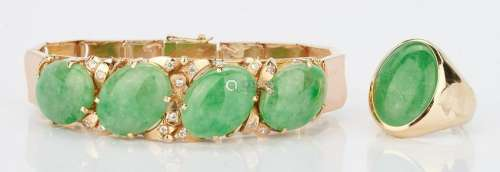 14K Jade Bracelet and 14K Jade Ring