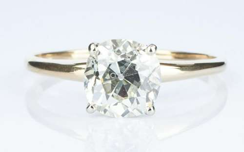 2.13 CTW Mine Cut Diamond Ring, GIA (VS1, K)
