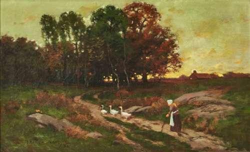 Frank Barney O/C, Landscape w/ Woman & Geese