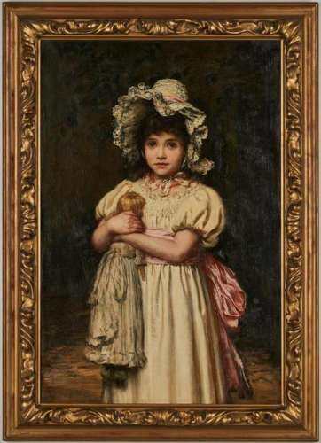 Katharine Bywater O/C Painting, Girl with Doll