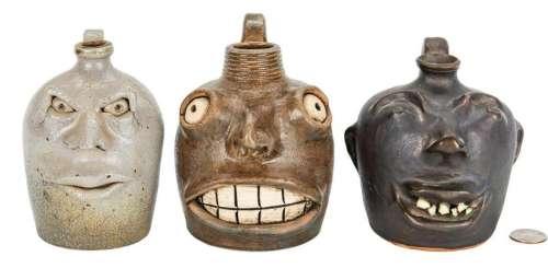 3 Southern Folk Pottery Face Jugs
