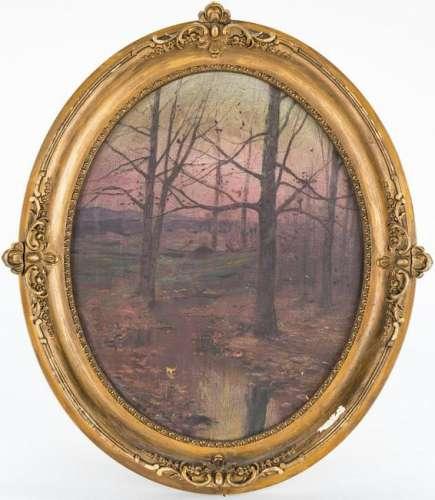 Lloyd Branson Oil on Cardstock Landscape Painting