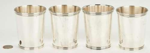4 Sterling Silver Julep Cups, Gorham &  Newport