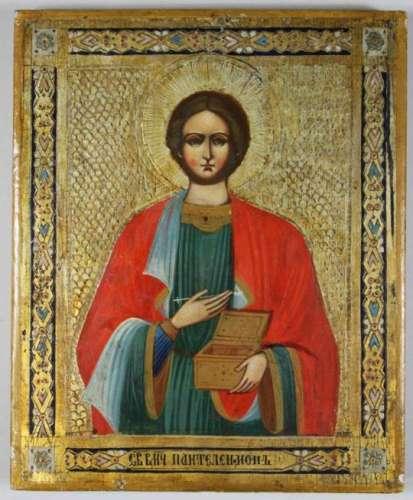 Heiliger Märtyrer Panteleimon, Ikone, Russland um 1880, 19. Jh., Holztafel, Tempera auf Kreide-