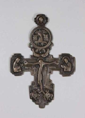 Segenskreuz, Russland, 18. / 19. Jh., Bronzeguss, Maße: 13 x 9 cm.- - -27.00 % buyer's premium on