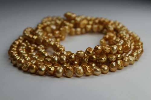 100 inch Strand of Gold Freshwater Pearl Necklace