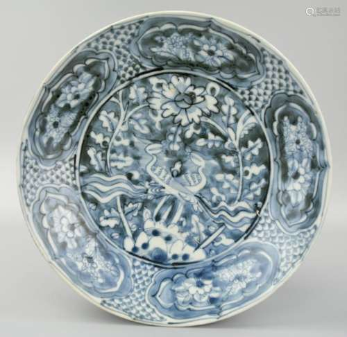 Large Chinese Blue & White Floral Charger, Ming D.