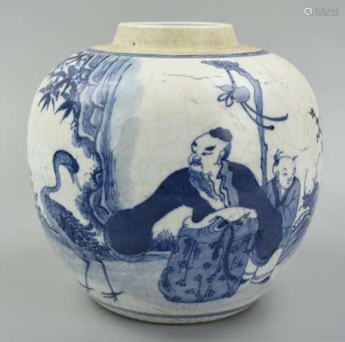 Chinese Ming Style B & W Jar w/ Crane & Man