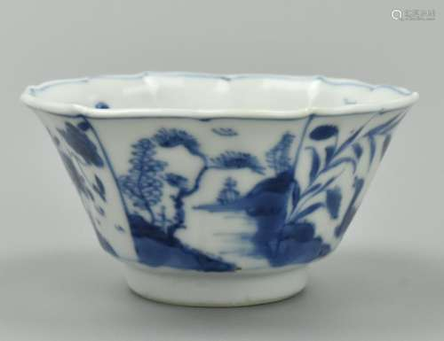 Small Chinese Hexagonal Blue & White Cup,Kangxi P.