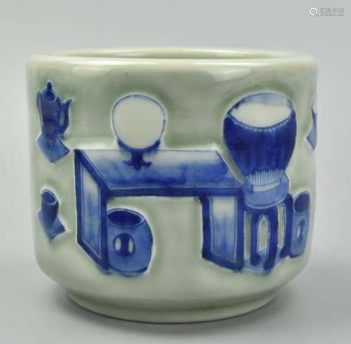 Chinese Celadon Blue&White Censer ,19-20th C.