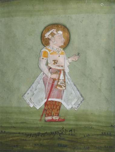 AN INDIAN PORTRAIT OF A STANDING PRINCE