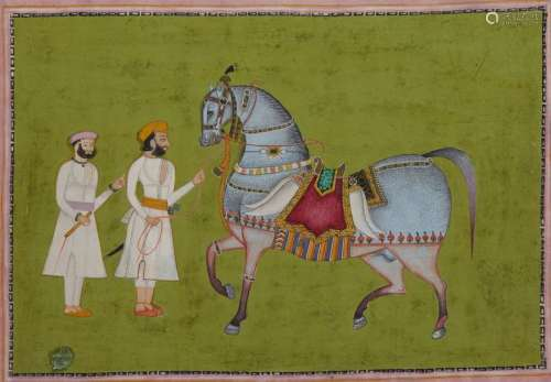 AN INDIAN MINIATURE DEPICTING TWO MAN AND A HORSE