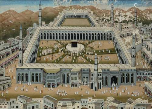 AN INDIAN PAINTING WITH A VIEW OF MECCA