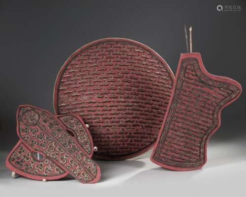 AN OTTOMAN METAL THREAD EMBROIDERED SET OF ARCHER …