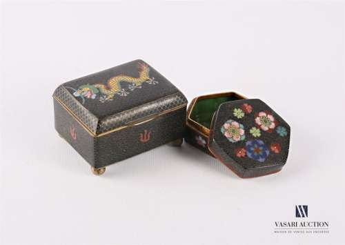 ASIA Lot including two boxes covered in cloisonné …