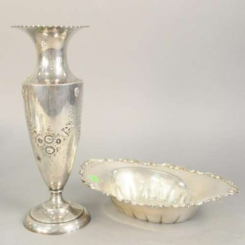 Sterling silver tall vase (ht.14 in.) and oval bowl