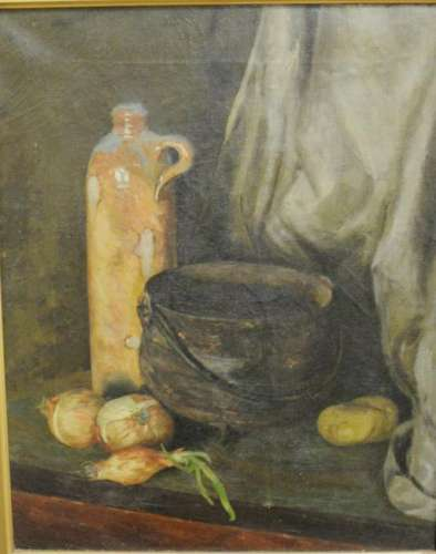 Still life with onions, unsigned, gallery label on