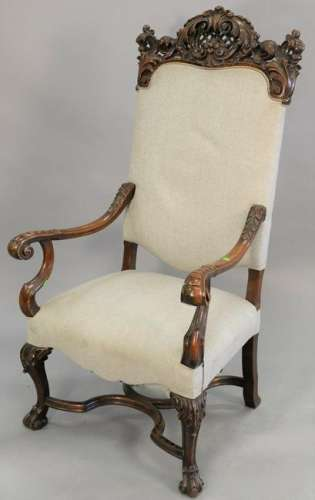 Walnut continental arm chair. ht. 54 in., wd. 29 in.