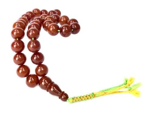 A TIBETAN BAKELITE PRAYER BEAD NECKLACE