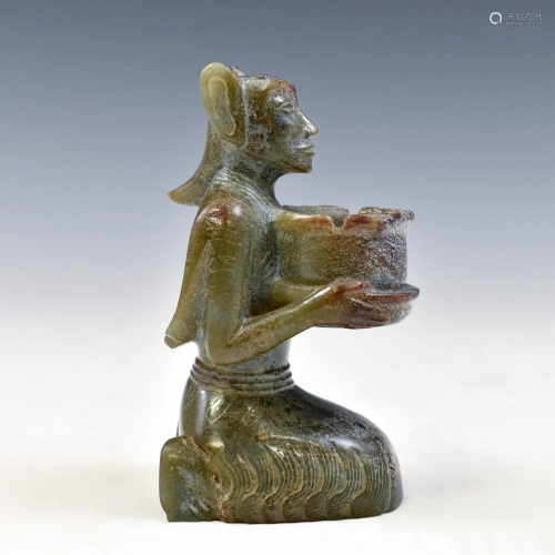 HAN CARVED JADE STATUE FIGURE WITH BOWL