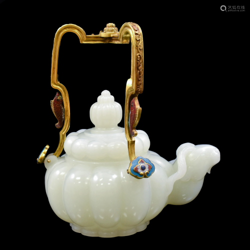 JADE & GILT BRONZE HANDLE TEA POT
