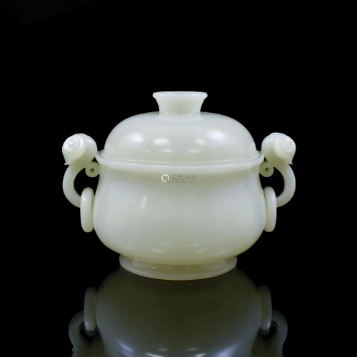WHITE JADE DOUBLE RAM COVERED CENSER