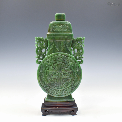 QING GREEN JADE VASE JADE VASE ON STAND