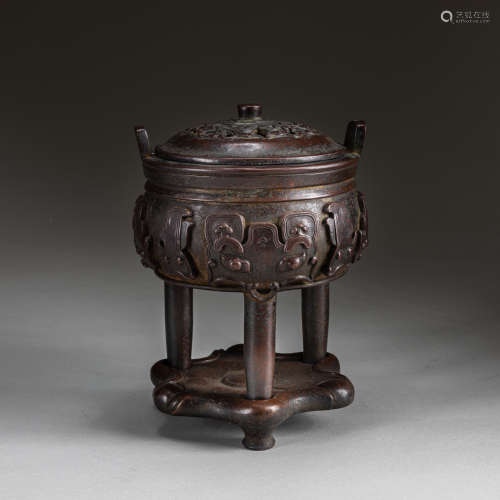 18-19th Chinese Antique Tripod Bronze Incense Burner