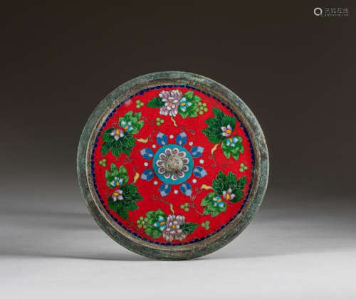 Republic Period Chinese Antique Cloisonné Bronze Mirror