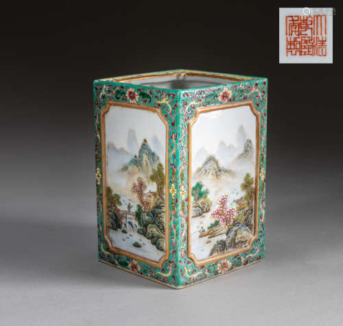 19th Kuangxu Chinese Antique Famille-Verte Enamel Porcelain Brushpot